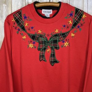 Vintage Alfred Dunner Holiday Xmas Bow Plaid Crew